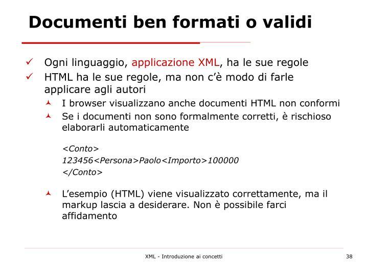 Documenti ben formati o validi