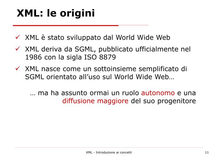 XML: le origini