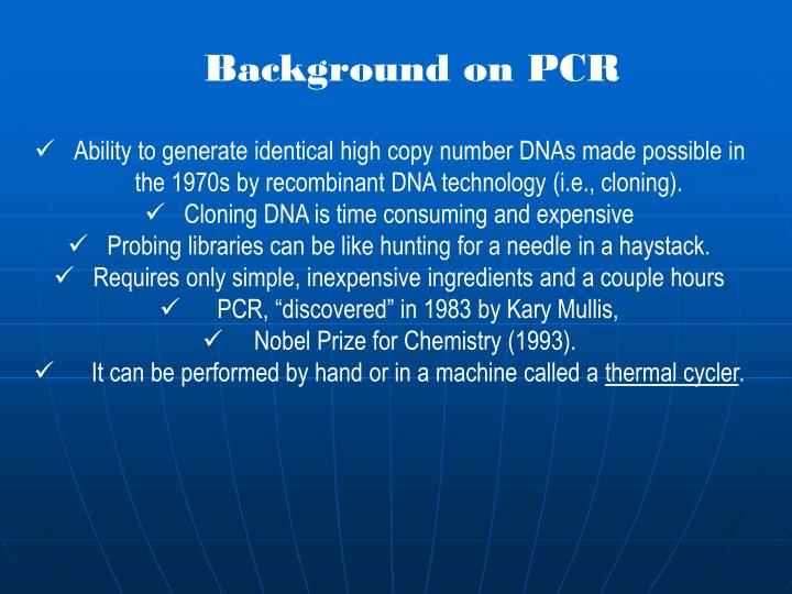 Background on PCR