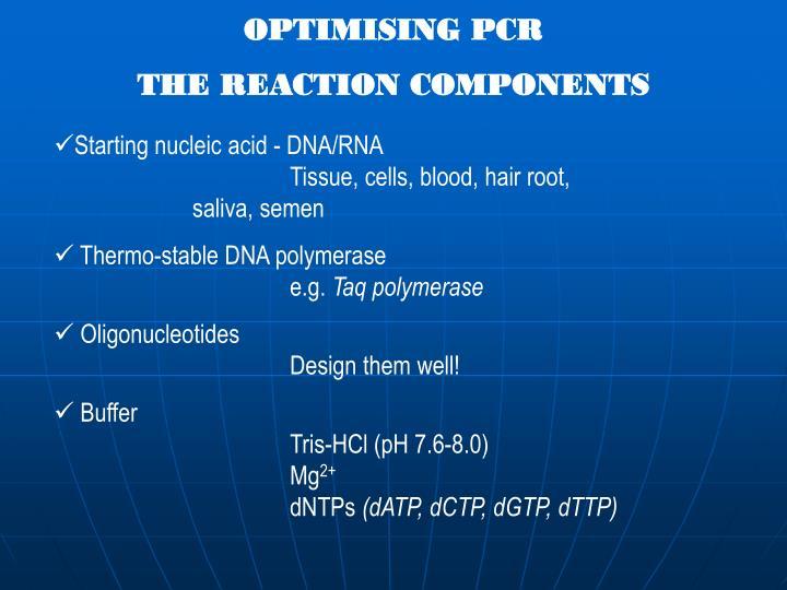 OPTIMISING PCR