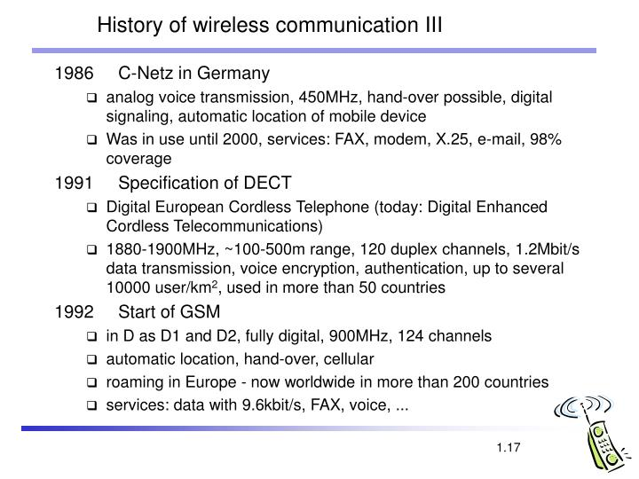 History of wireless communication III