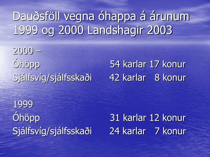 Dauðsföll vegna óhappa á árunum 1999 og 2000 Landshagir 2003
