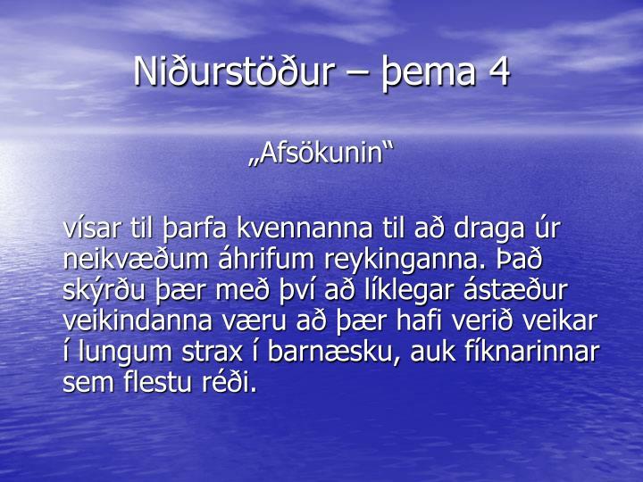 Niðurstöður – þema 4