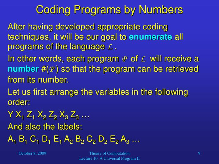 Coding Programs by Numbers