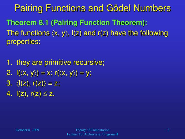 Pairing functions and g del numbers1