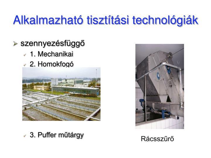 Alkalmazható tisztítási technológiák