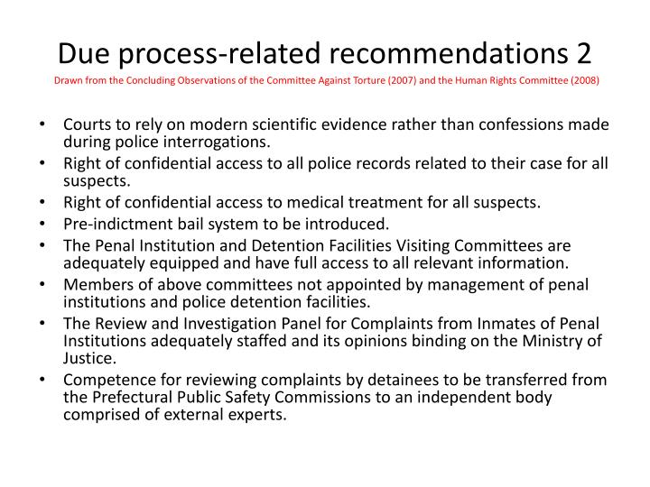 Due process-related recommendations 2