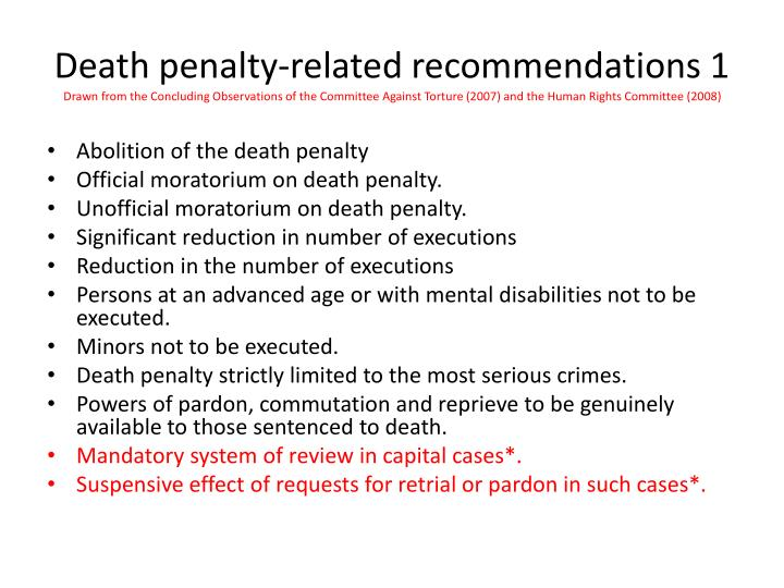 Death penalty-related recommendations 1