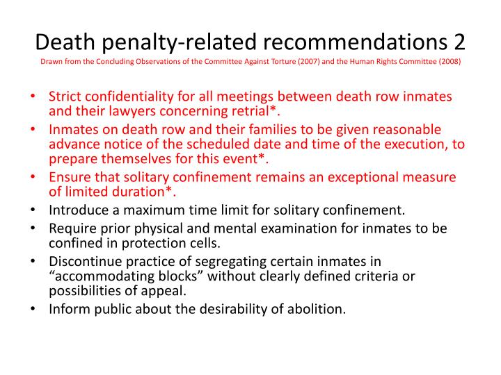 Death penalty-related recommendations 2