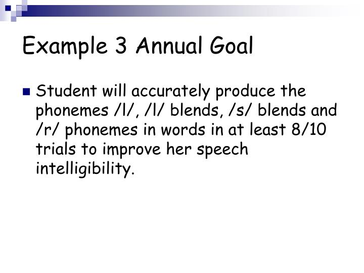 Example 3 Annual Goal