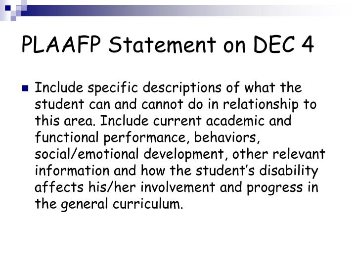 PLAAFP Statement on DEC 4