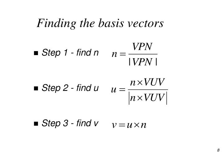 Finding the basis vectors