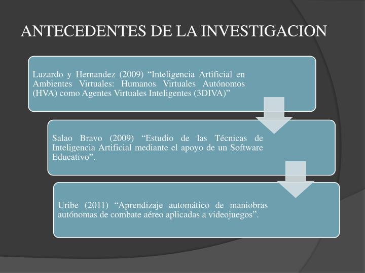 ANTECEDENTES DE LA INVESTIGACION