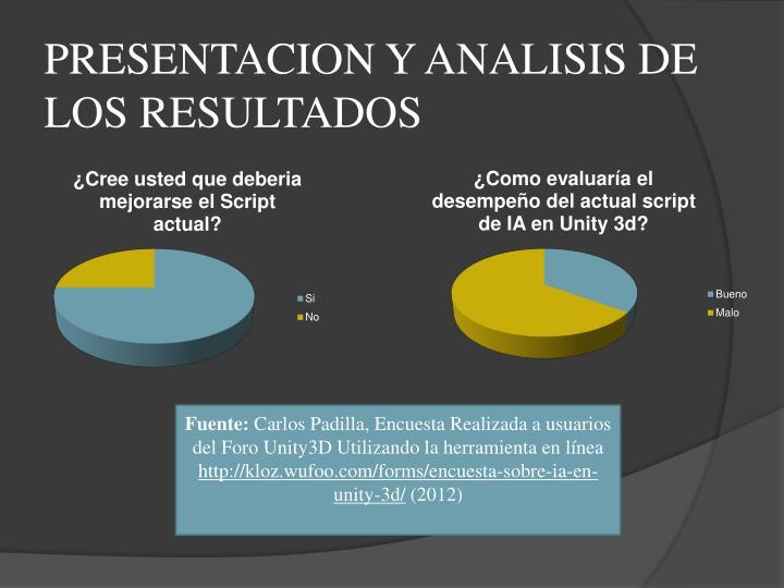 PRESENTACION Y ANALISIS DE LOS