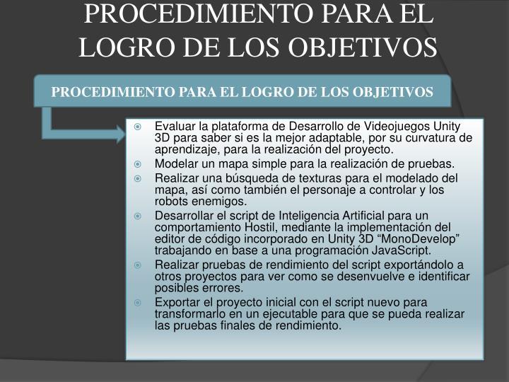 PROCEDIMIENTO PARA EL LOGRO DE LOS OBJETIVOS