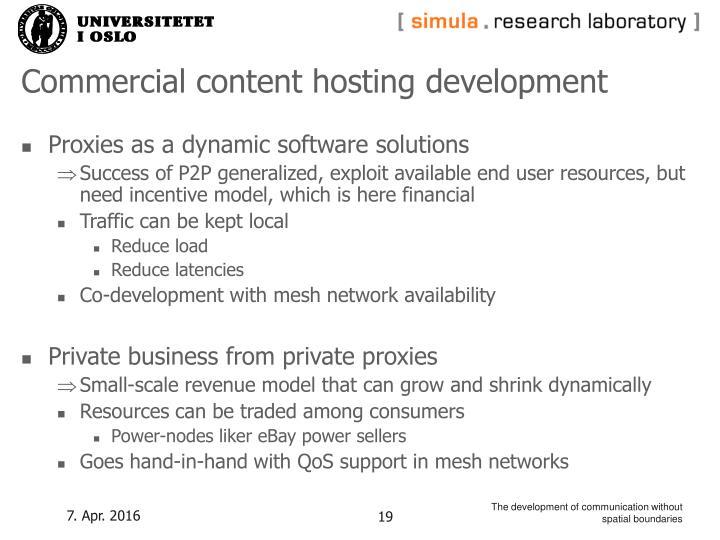 Commercial content hosting development