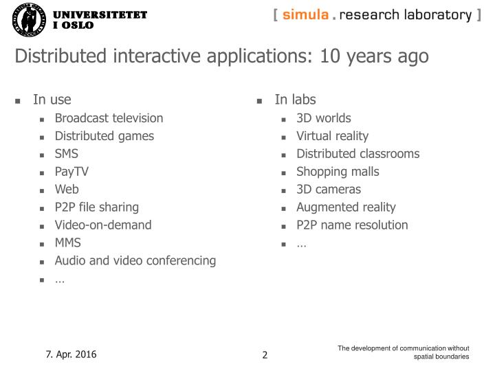 Distributed interactive applications 10 years ago