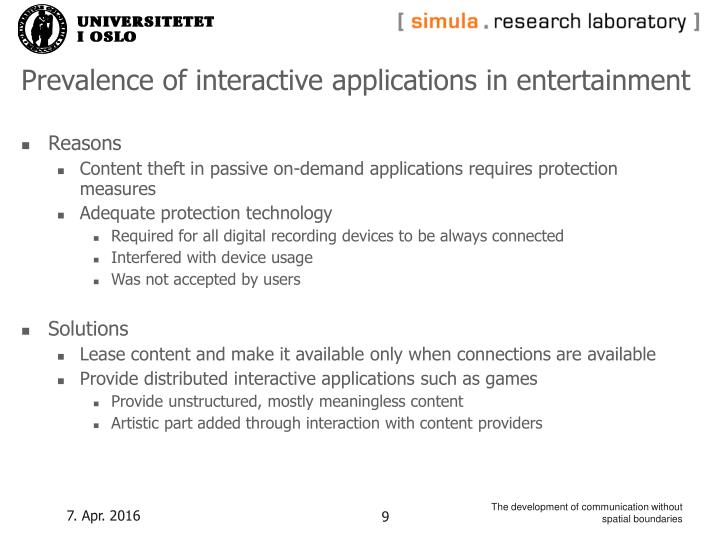 Prevalence of interactive applications in entertainment