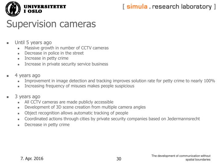 Supervision cameras