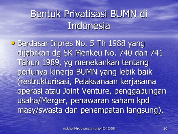 Bentuk Privatisasi BUMN di Indonesia