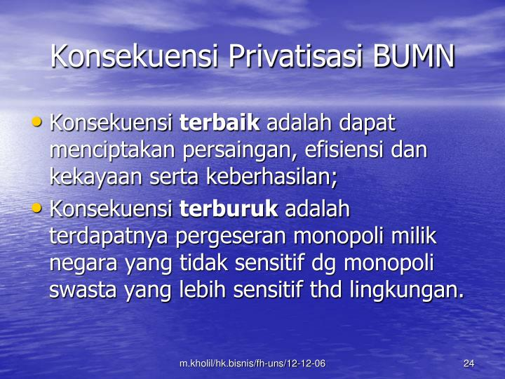 Konsekuensi Privatisasi BUMN