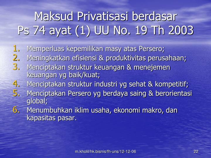 Maksud Privatisasi berdasar