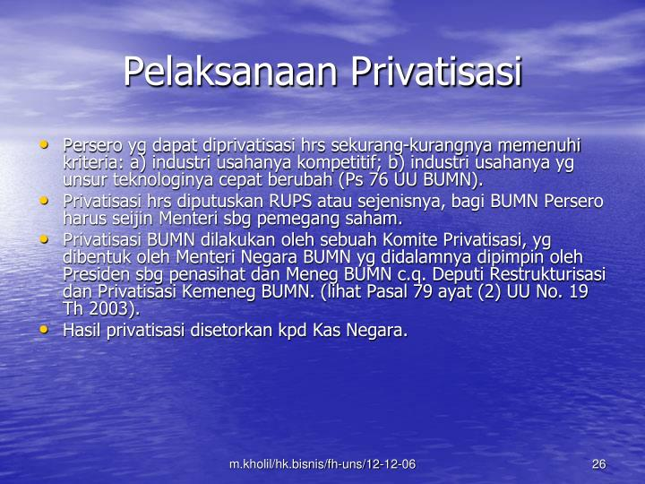 Pelaksanaan Privatisasi