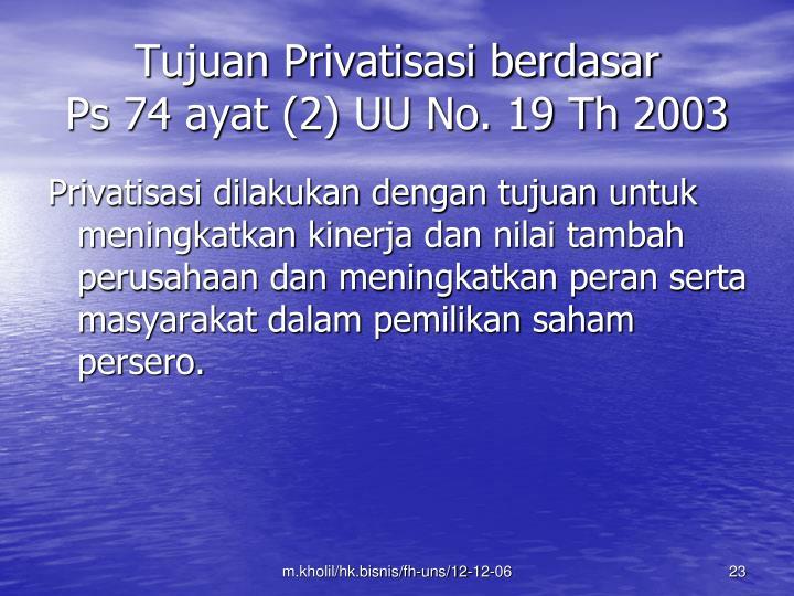 Tujuan Privatisasi berdasar