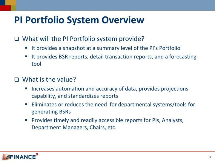 PI Portfolio System