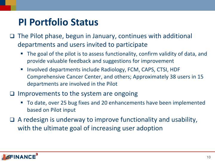 PI Portfolio Status