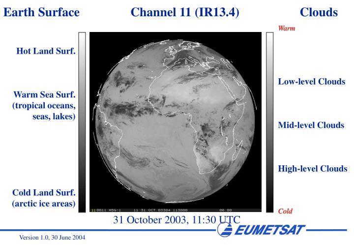 Earth Surface                Channel 11 (IR13.4)                   Clouds