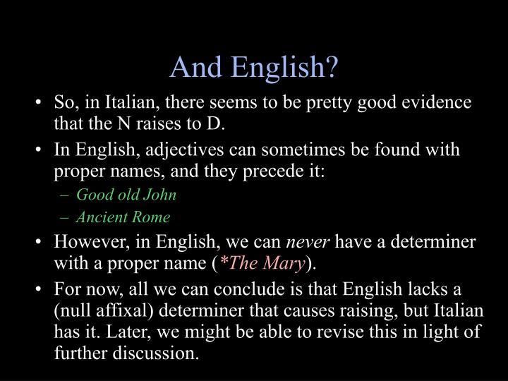 And English?