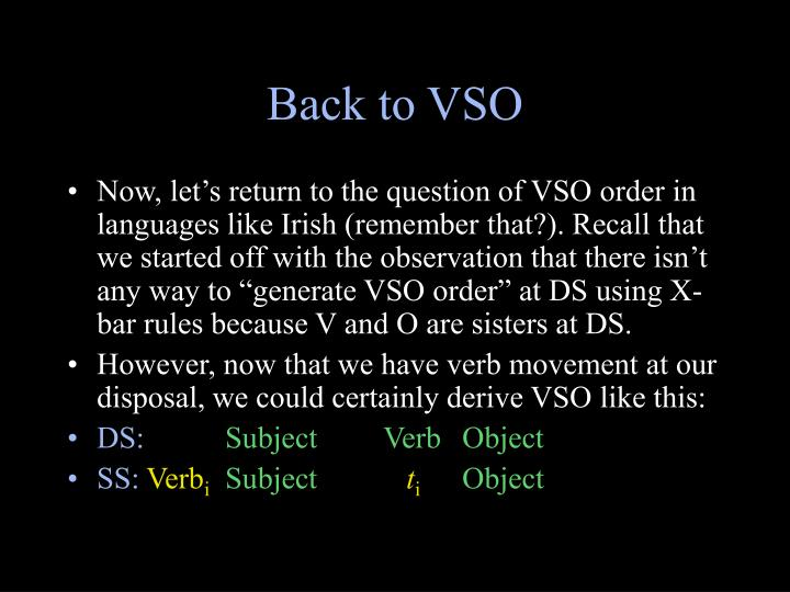 Back to VSO