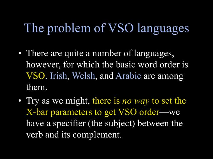 The problem of VSO languages