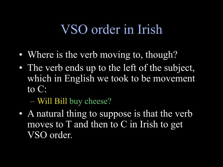 VSO order in Irish