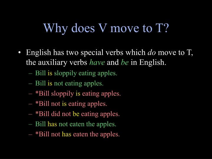 Why does V move to T?