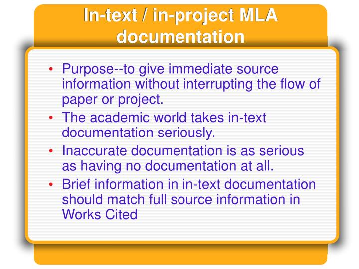In-text / in-project MLA documentation