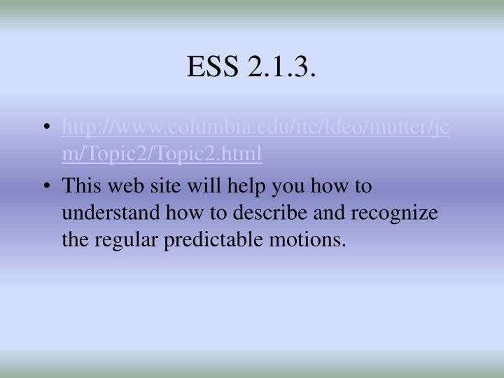 ESS 2.1.3.