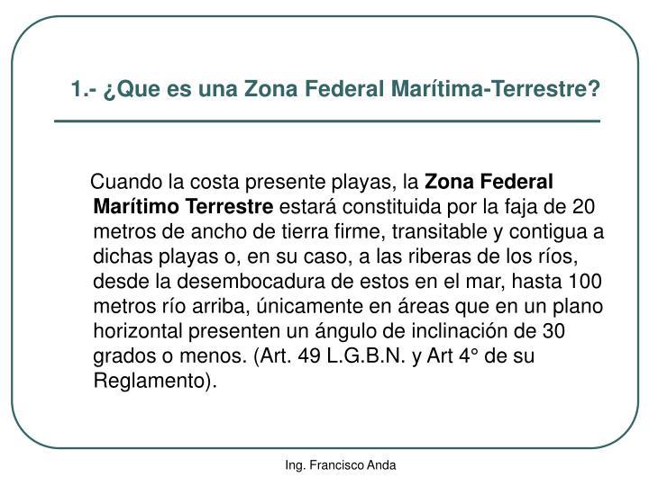 1.- ¿Que es una Zona Federal Marítima-Terrestre?