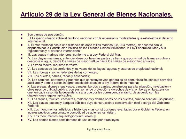 Artículo 29 de la Ley General de Bienes Nacionales.