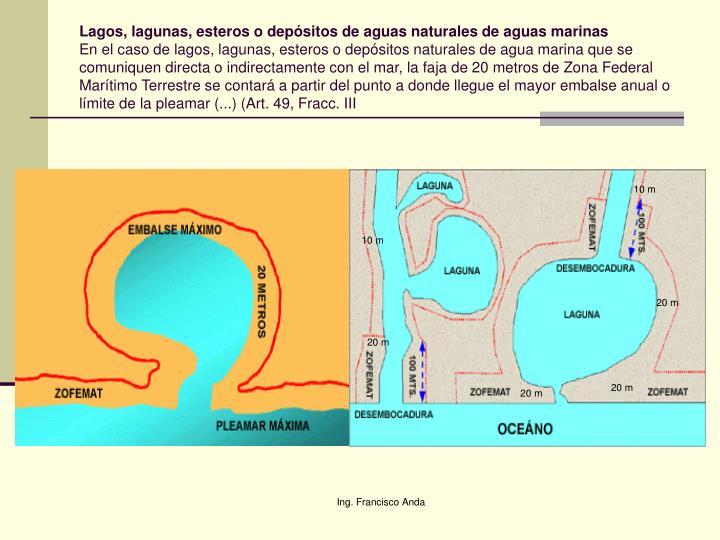 Lagos, lagunas, esteros o depósitos de aguas naturales de aguas marinas