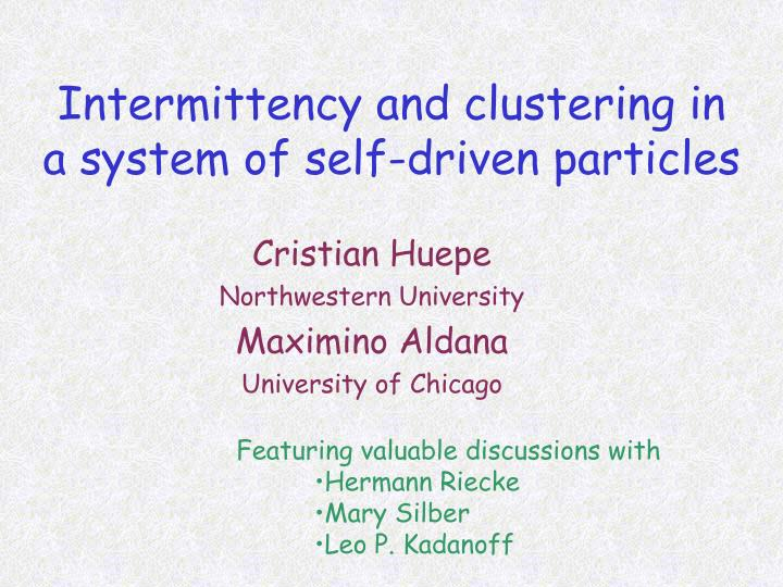 Intermittency and clustering in a system of self driven particles