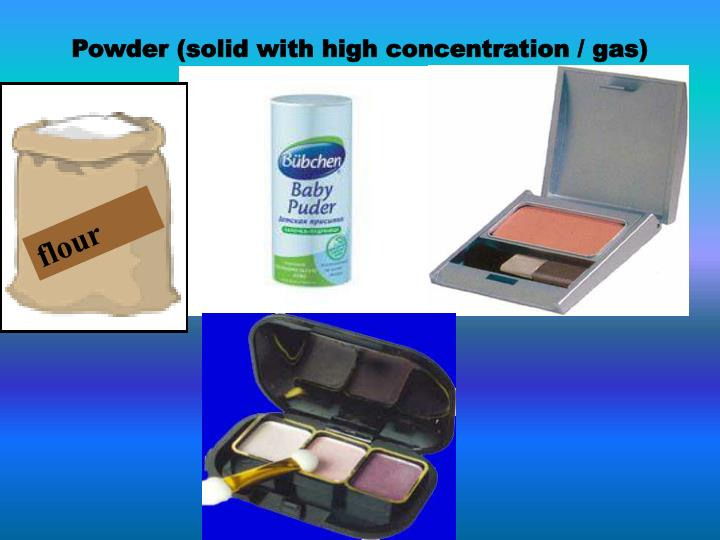 Powder (solid with high concentration / gas)