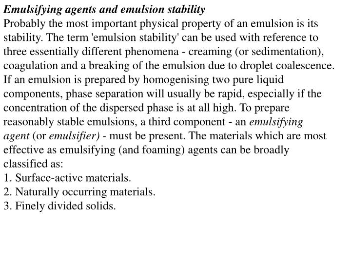 Emulsifying agents and emulsion stability