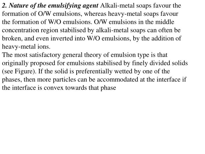 2. Nature of the emulsifying agent