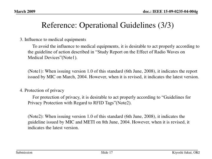 Reference: Operational Guidelines (3/3)