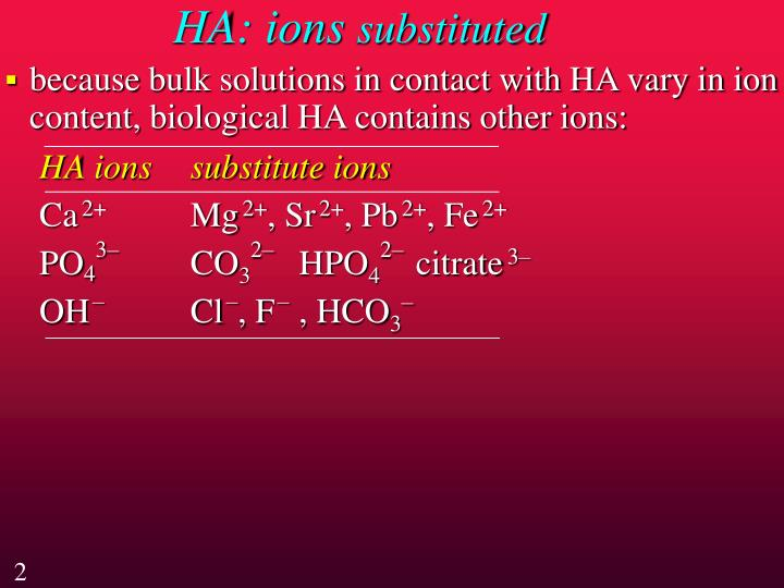 Ha ions substituted
