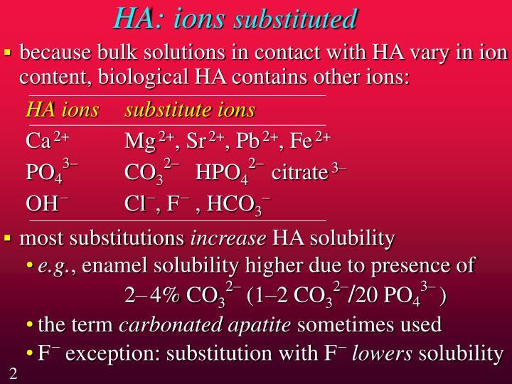 HA: ions