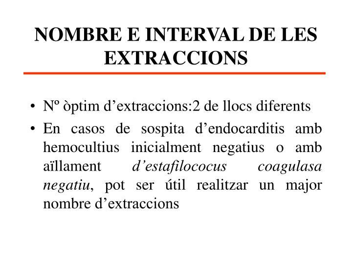 NOMBRE E INTERVAL DE LES EXTRACCIONS