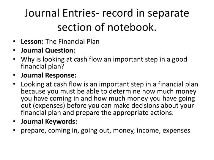 Journal Entries- record in separate section of notebook.